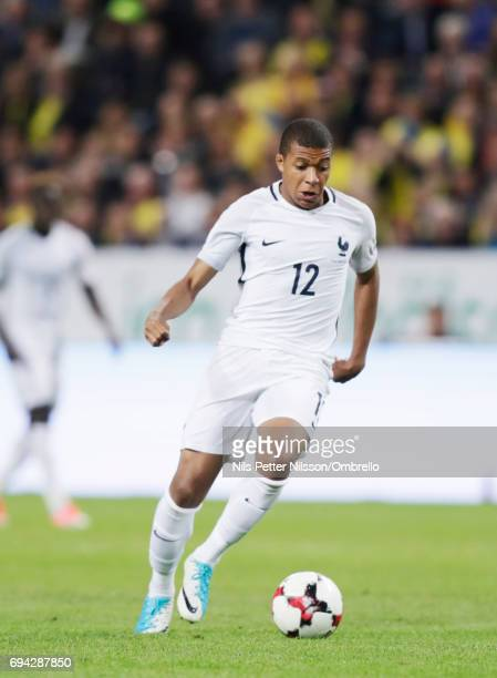 Kylian Mbappe of France during the FIFA 2018 World Cup Qualifier between Sweden and France at Friends Arena on June 9 2017 in Solna Sweden
