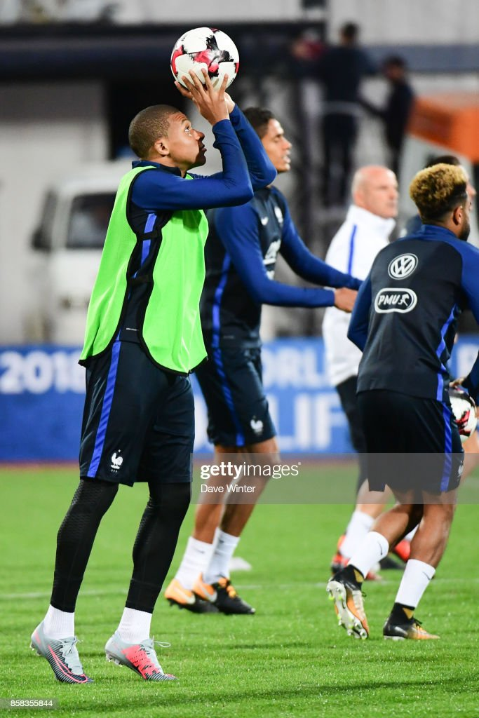 Kylian Mbappe of France during the training session of the France football team ahead the World Cup qualifying match against Bulgaria on October 6, 2017 in Sofia, Bulgaria.