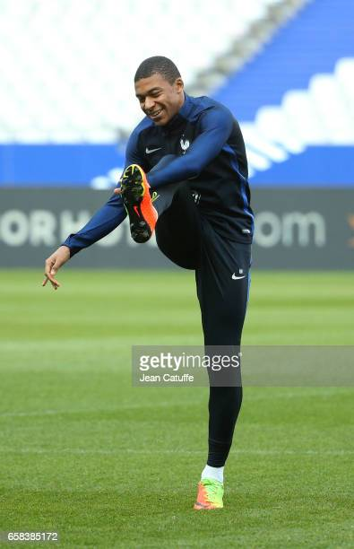 Kylian Mbappe of France during the training session on the eve of the international friendly match between France and Spain at Stade de France on...