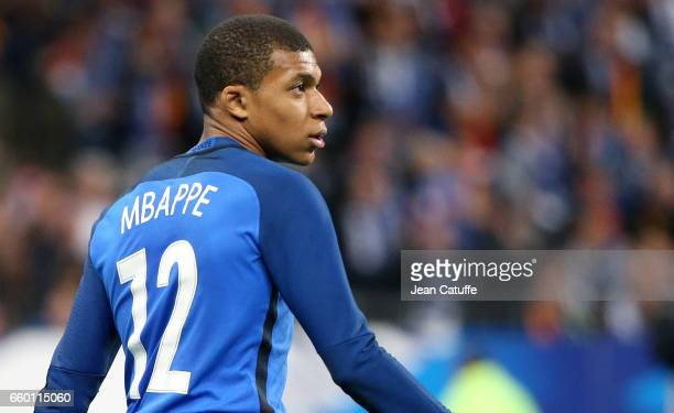 Kylian Mbappe of France in action during the international friendly match between France and Spain between France and Spain at Stade de France on...