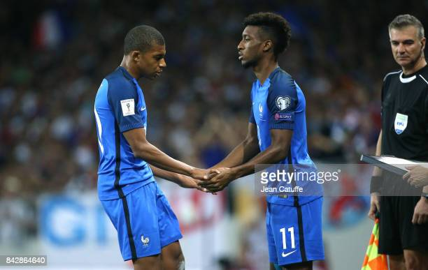 Kylian Mbappe of France is replaced by Kingsley Coman during the FIFA 2018 World Cup Qualifier between France and Luxembourg at the Stadium on...