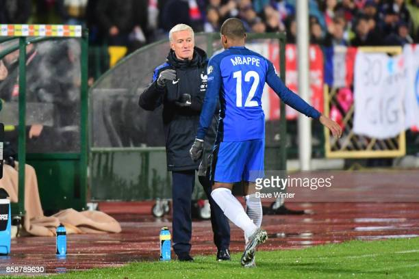 Kylian Mbappe of France is substituted by France coach Didier Deschamps during the Fifa 2018 World Cup qualifying match between Bulgaria and France...