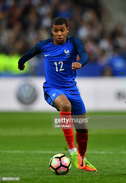 Kylian Mbappe of France looks for space during the International Friendly match between France and Spain at the Stade de France on March 28 2017 in...