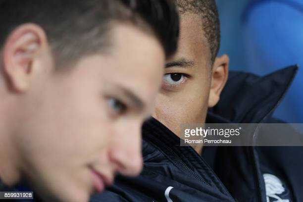 Kylian Mbappe of France looks on before the FIFA 2018 World Cup Qualifier between France and Belarus at Stade de France on October 10 2017 in Paris