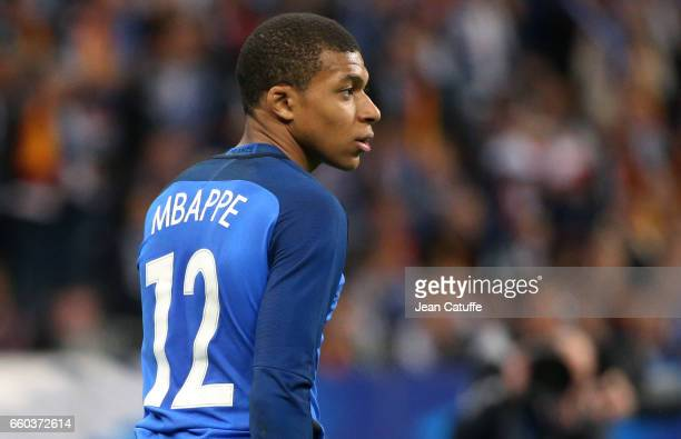 Kylian Mbappe of France looks on during the international friendly match between France and Spain between France and Spain at Stade de France on...