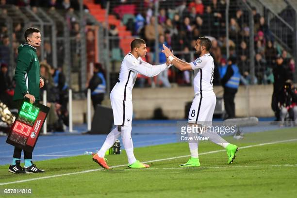 Kylian Mbappe of France makes his debut when he replaces Dimitri Payet of France during the FIFA World Cup 2018 qualifying match between Luxembourg...