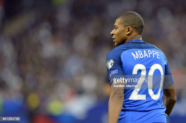 Kylian Mbappe of France reacts during the FIFA 2018 World Cup Qualifier between France and The Netherlands at Stade de France on August 31 2017 in...