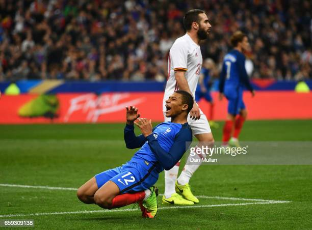 Kylian Mbappe of France reacts during the International Friendly match between France and Spain at Stade de France on March 28 2017 in Paris France