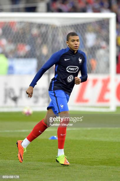 Kylian Mbappe of France reacts during warmup before the international friendly match between France and Spain at Stade de France on March 28 2017 in...