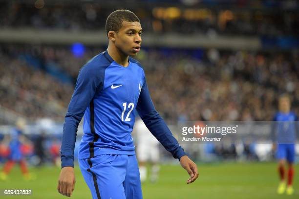 Kylian Mbappe of Francer reacts during the international friendly match between France and Spain at Stade de France on March 28 2017 in Paris France