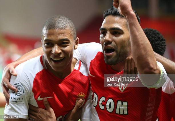 Kylian Mbappe of Monaco celebrates his goal with Radamel Falcao during the French Ligue 1 match between AS Monaco and AS SaintEtienne at Stade Louis...