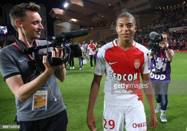Kylian Mbappe of Monaco during the French League 1 Championship title celebration following the French Ligue 1 match between AS Monaco and AS...