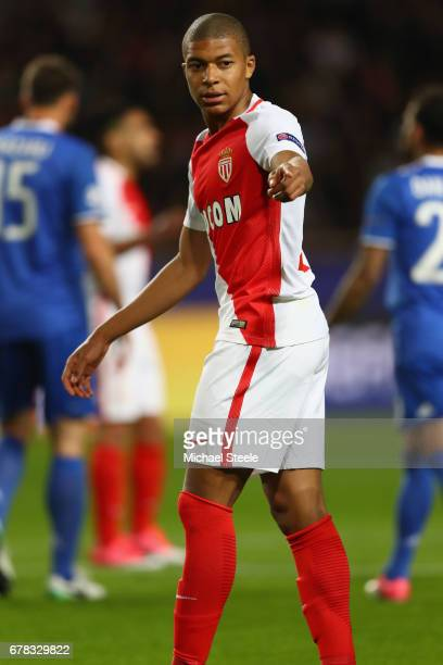 Kylian Mbappe of Monaco during the UEFA Champions League Semi Final first leg match between AS Monaco v Juventus at Stade Louis II on May 3 2017 in...