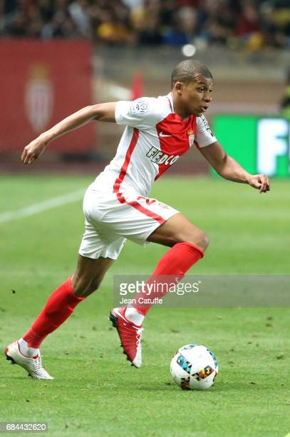 Kylian Mbappe of Monaco in action during the French Ligue 1 match between AS Monaco and AS SaintEtienne at Stade Louis II on May 17 2017 in Monaco...