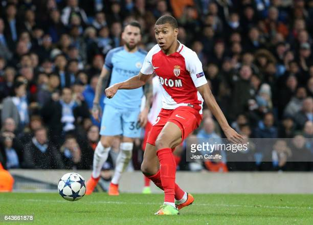 Kylian Mbappe of Monaco in action during the UEFA Champions League Round of 16 first leg match between Manchester City FC and AS Monaco at Etihad...