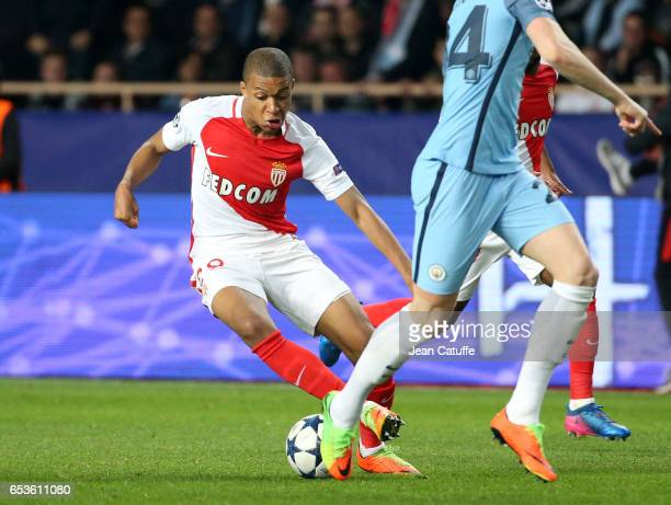 Kylian Mbappe of Monaco in action during the UEFA Champions League Round of 16 second leg match between AS Monaco and Manchester City FC at Stade...