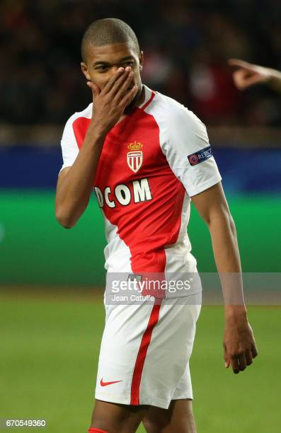 Kylian Mbappe of Monaco reacts during the UEFA Champions League quarter final second leg match between AS Monaco and Borussia Dortmund at Stade Louis...