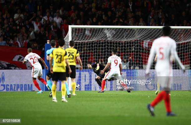 Kylian Mbappe of Monaco scores the first goal during the UEFA Champions League Quarter Final second leg match between AS Monaco and Borussia Dortmund...