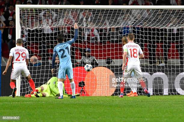 Kylian Mbappe of Monaco scores the opening goal during the Uefa Champions League match between As Monaco and Manchester City Round of 16 second leg...