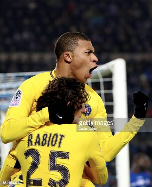 Kylian Mbappe of Paris SaintGermain celebrate his goal with Adrien Rabiot during the Ligue 1 match between Strasbourg and Paris Saint Germain at La...