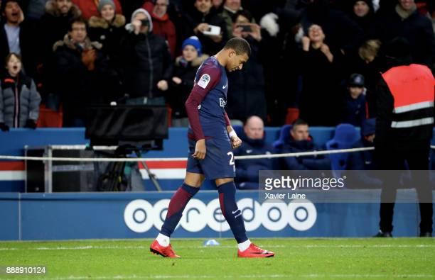 Kylian Mbappe of Paris SaintGermain celebrates his goal during the Ligue 1 match between Paris Saint Germain and Lille OSC at Parc des Princes on...