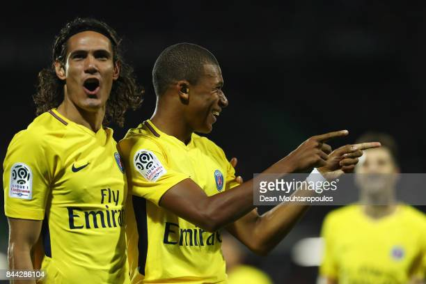 Kylian Mbappe of Paris SaintGermain Football Club or PSG celebrates scoring his teams second goal of the game with Edinson Cavani during the Ligue 1...