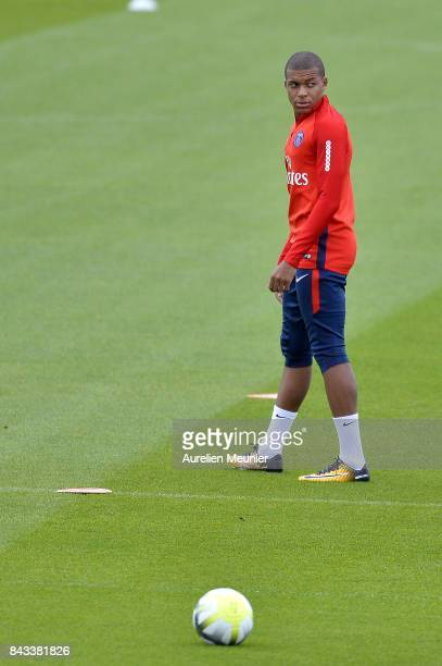 Kylian Mbappe of Paris SaintGermain seen during a Paris SaintGermain training session at Centre Ooredoo on September 6 2017 in SaintGermain en Laye...