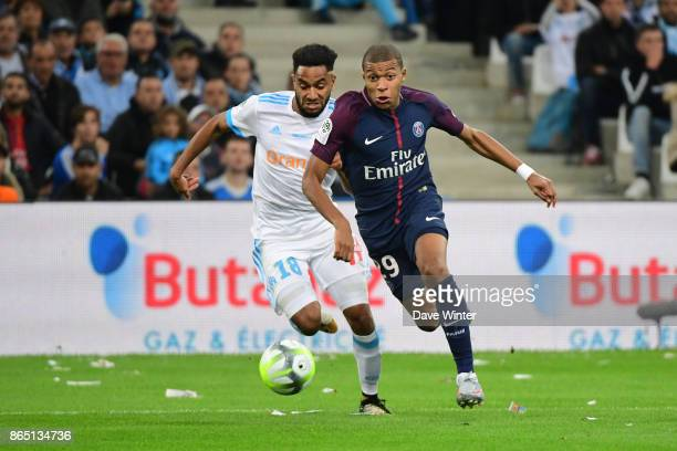 Kylian Mbappe of PSG and Jordan Amavi of Marseille during the Ligue 1 match between Olympique Marseille and Paris Saint Germain at Stade Velodrome on...
