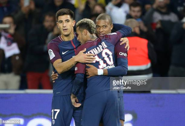 Kylian Mbappe of PSG celebrates his goal with Neymar Jr Yuri Berchiche during the French Ligue 1 match between Paris Saint Germain and Olympique...