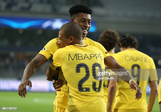 Kylian Mbappe of PSG celebrates his goal with Presnel Kimpembe during the UEFA Champions League match between RSC Anderlecht and Paris Saint Germain...