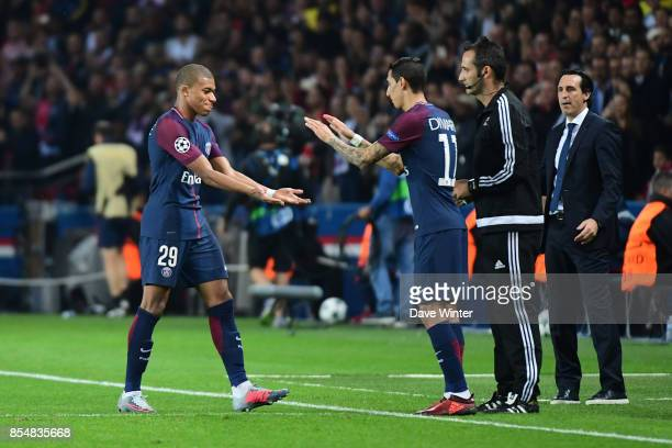 Kylian Mbappe of PSG is replaced by Hatem Ben Arfa of PSG during the Uefa Champions League match between Paris Saint Germain and FC Bayern Munich on...