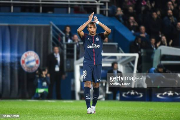 Kylian Mbappe of PSG is replaced during the Uefa Champions League match between Paris Saint Germain and Fc Bayern Muenchen on September 27 2017 in...