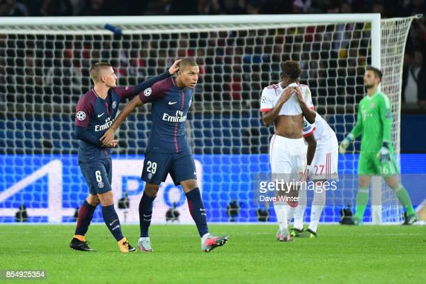 Kylian Mbappe of PSG is substituted during the Uefa Champions League match between Paris Saint Germain and FC Bayern Munich on September 27 2017 in...