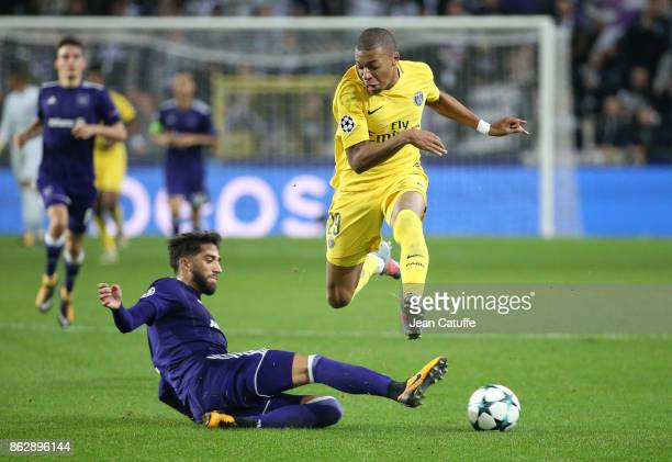 Kylian Mbappe of PSG Josue Sa of Anderlecht during the UEFA Champions League match between RSC Anderlecht and Paris Saint Germain at Constant Vanden...