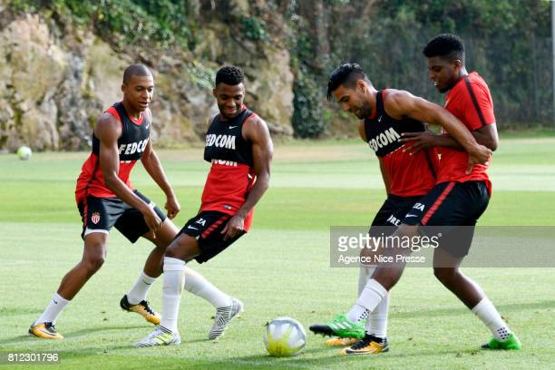 Kylian Mbappe Thomas lemar Radamel Falcao and Jemerson of Monaco during training session of As Monaco on July 10 2017 in Monaco Monaco