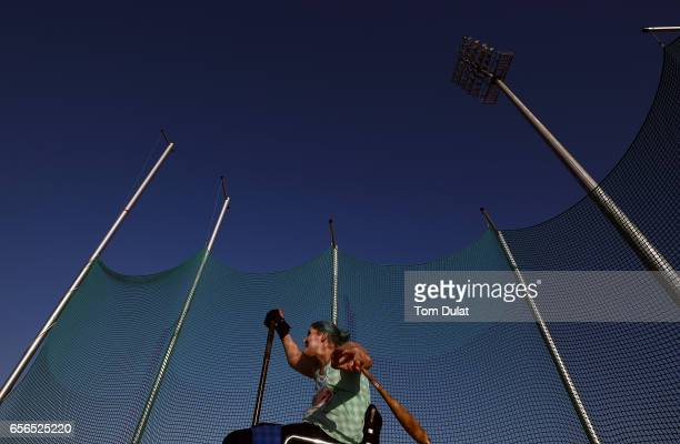 Kylie Grimes of Great Britain competes in Club 397g Women's final during the 9th Fazza International IPC Athletics Grand Prix Competition World Para...