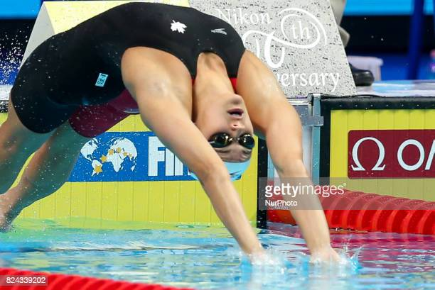 Kylie Jacqueline Masse competing in the women's 200m backstroke final during the swimming competition at the 2017 FINA World Championships in...