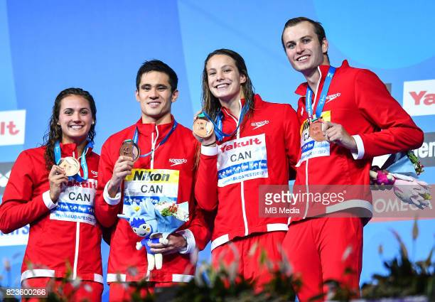 Kylie Jacqueline Masse Richard Funk Penny Oleksiak Yuri Kisil during the Budapest 2017 FINA World Championships on July 26 2017 in Budapest Hungary
