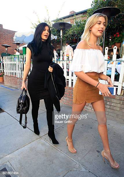 Kylie Jenner and Hailey Baldwin are seen on December 17 2015 in Los Angeles California