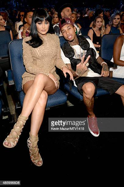 Kylie Jenner and Tyga attend the 2015 MTV Video Music Awards at Microsoft Theater on August 30 2015 in Los Angeles California