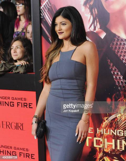 Kylie Jenner arrives at the Los Angeles Premiere 'The Hunger Games Catching Fire' at Nokia Theatre LA Live on November 18 2013 in Los Angeles...