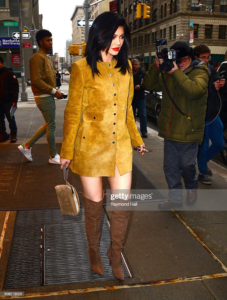 <a gi-track='captionPersonalityLinkClicked' href=/galleries/search?phrase=Kylie+Jenner&family=editorial&specificpeople=870409 ng-click='$event.stopPropagation()'>Kylie Jenner</a> is seen coming out of a hotel in Soho on February 9, 2016 in New York City.