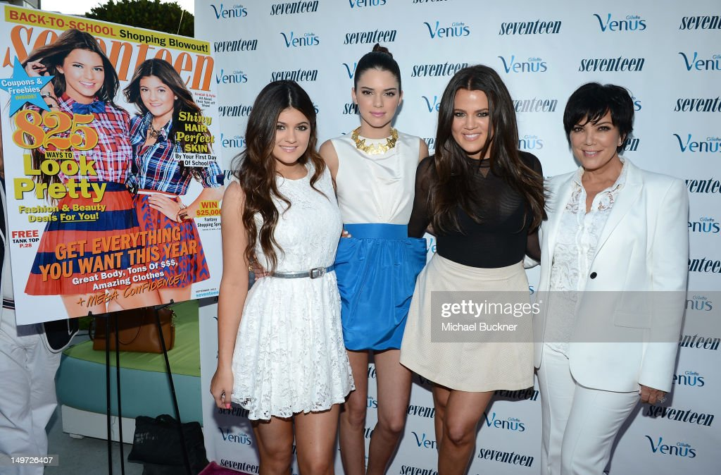 <a gi-track='captionPersonalityLinkClicked' href=/galleries/search?phrase=Kylie+Jenner&family=editorial&specificpeople=870409 ng-click='$event.stopPropagation()'>Kylie Jenner</a>, <a gi-track='captionPersonalityLinkClicked' href=/galleries/search?phrase=Kendall+Jenner&family=editorial&specificpeople=2786662 ng-click='$event.stopPropagation()'>Kendall Jenner</a>, <a gi-track='captionPersonalityLinkClicked' href=/galleries/search?phrase=Khloe+Kardashian&family=editorial&specificpeople=3955023 ng-click='$event.stopPropagation()'>Khloe Kardashian</a> Odom and <a gi-track='captionPersonalityLinkClicked' href=/galleries/search?phrase=Kris+Jenner&family=editorial&specificpeople=762610 ng-click='$event.stopPropagation()'>Kris Jenner</a> attend the Seventeen Magazine Summer Celebration with <a gi-track='captionPersonalityLinkClicked' href=/galleries/search?phrase=Kendall+Jenner&family=editorial&specificpeople=2786662 ng-click='$event.stopPropagation()'>Kendall Jenner</a> and <a gi-track='captionPersonalityLinkClicked' href=/galleries/search?phrase=Kylie+Jenner&family=editorial&specificpeople=870409 ng-click='$event.stopPropagation()'>Kylie Jenner</a> at the W Hotel Westwood on August 2, 2012 in Westwood, California.