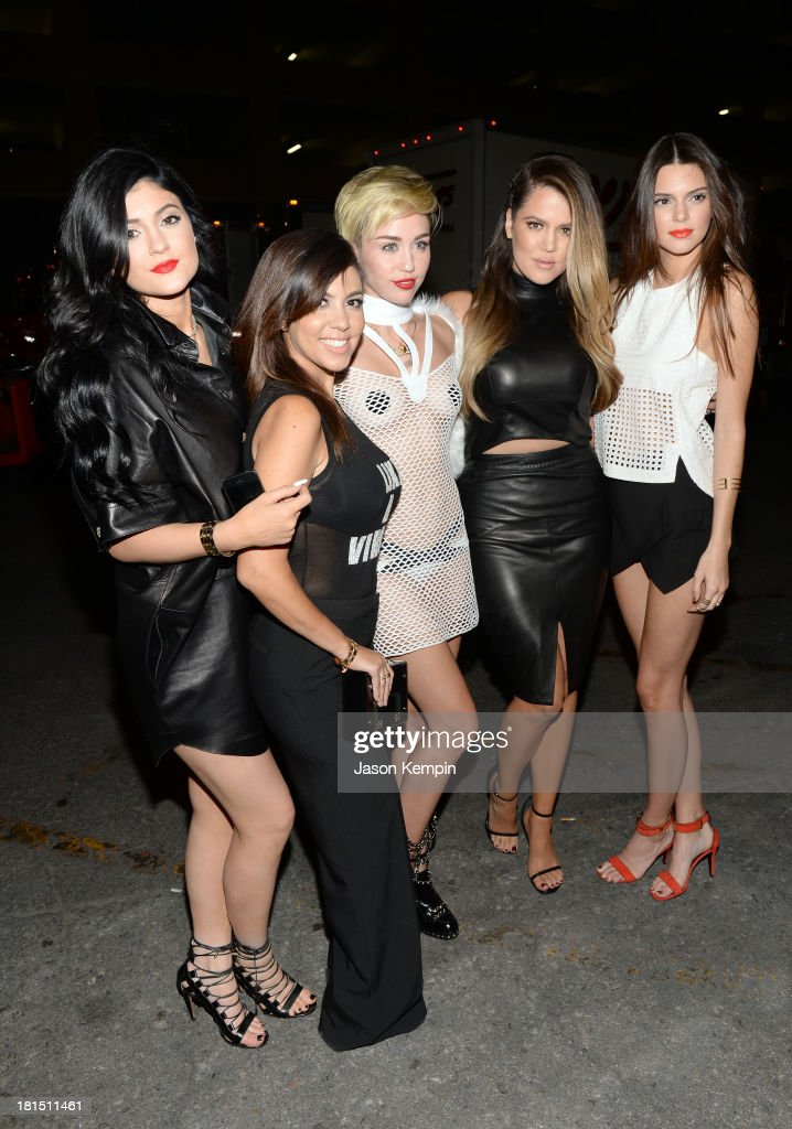 Kylie Jenner, Kourtney Kardashian, Miley Cyrus, Khloe Kardashian and Kendall Jenner attend the iHeartRadio Music Festival at the MGM Grand Garden Arena on September 21, 2013 in Las Vegas, Nevada.