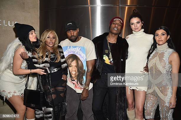 Kylie Jenner Lil' Kim Kanye West ASAP Rocky Kendall Jenner and Kourtney Kardashian attend Kanye West Yeezy Season 3 on February 11 2016 in New York...