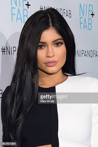 Kylie Jenner poses during her announcement as brand ambassador for Nip Fab at W Hollywood on December 15 2015 in Hollywood California
