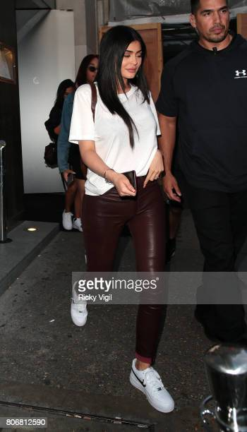 Kylie Jenner seen on a night out with boyfriend Travis Scott at Nobu Berkeley St restaurant on July 3 2017 in London England