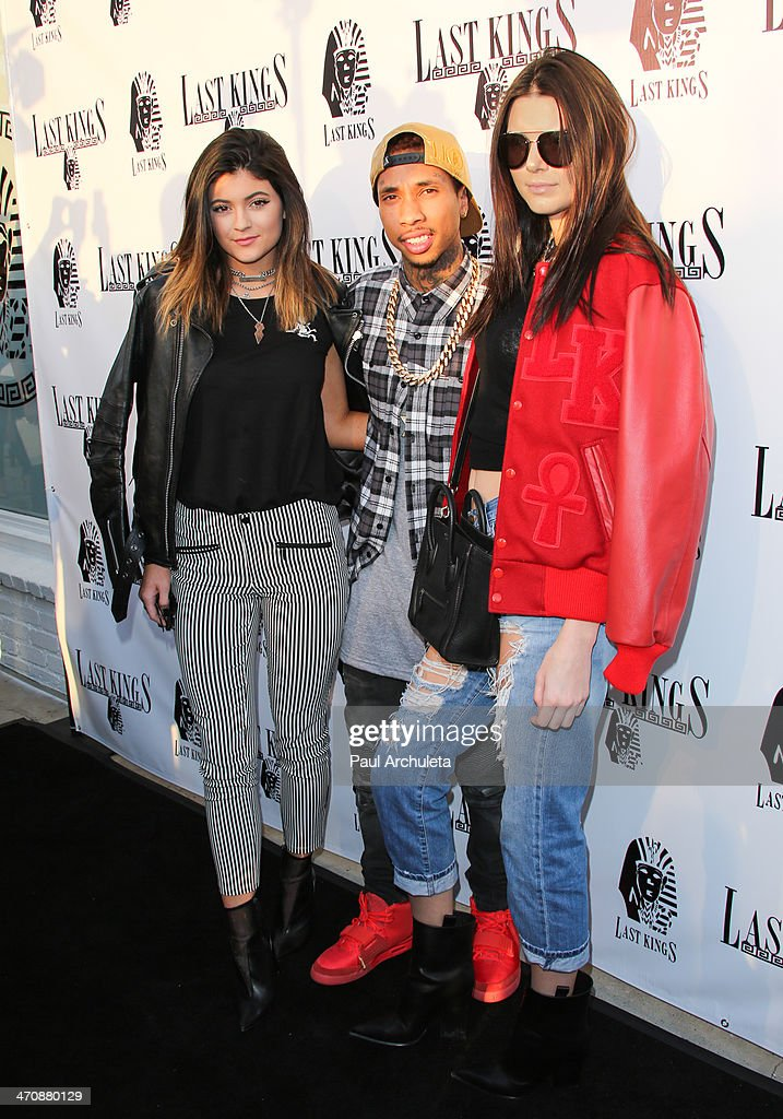 Kylie Jenner Tyga and Kendall Jenner attend the press preview at Tyga's 'Last Kings' flagship store on February 20 2014 in Los Angeles California