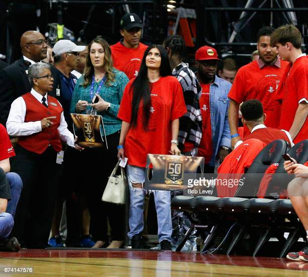 Kylie Jenner waits to be seated during Game Five of the Western Conference Quarterfinals game of the 2017 NBA Playoffs at Toyota Center on April 25...