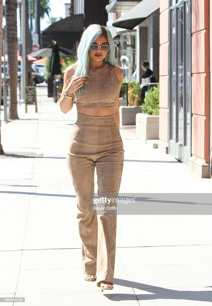 Kylie Jenner with blue hair is seen on July 10, 2015 in Los Angeles, California.